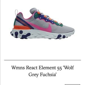 ✅ WMNS REACT ELEMENT 55 GOLF GRAY FUCHSIA, COMFY